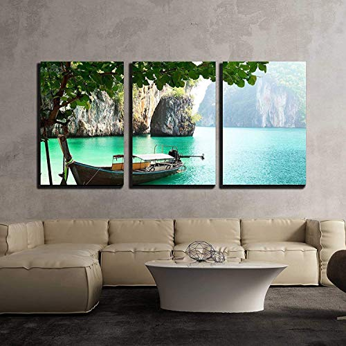 (wall26 - 3 Piece Canvas Wall Art - Long Boat on Island in Thailand - Modern Home Decor Stretched and Framed Ready to Hang - 16