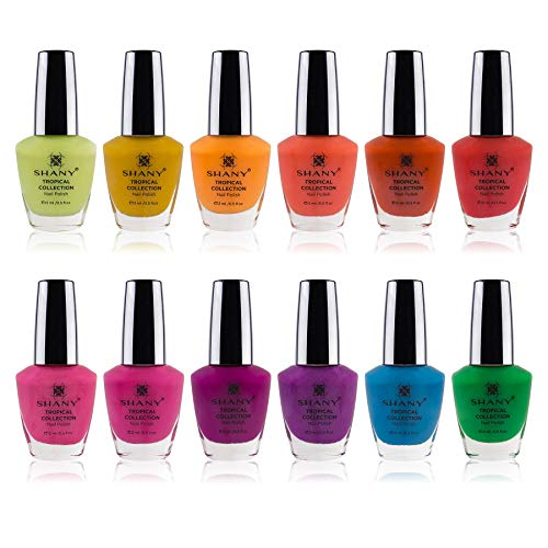 (SHANY Tropical Collection Nail Polish Set - 12 Island-Inspired Shades with Gorgeous Semi-Glossy and Shimmer Finishes in Bright and Neon Colors)