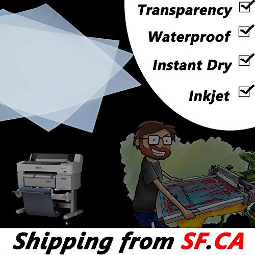 - Waterproof Inkjet Instant-Dry Transparency Positive Film 5mil for Silk Screen Printing,It is Ideal for EPSON HP Canon Water-Based dye and Pigment Inkjet Printing Printers