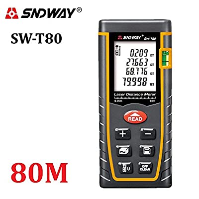 SNDWAY Digital Laser Distance Meter 40m-60m-80m-100m trena laser tape Measure tool Range Finder with Large Backlit LCD 4 Line Display, Bubble Level, Self Calibration Rangefinder Diastimeter