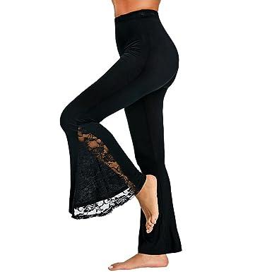 d83edea9162091 MCYs Damen Hohe Taille Spitze Einfügen Hosen Lässige Sommerhosen Sporthose  Lange Wide Leg Long Trouser Hose