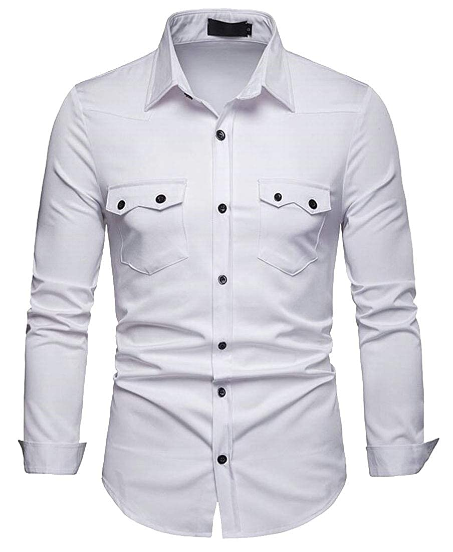 DFBB Men Long Sleeve Solid Casual Business Button Down Pocket Front Dress Shirt