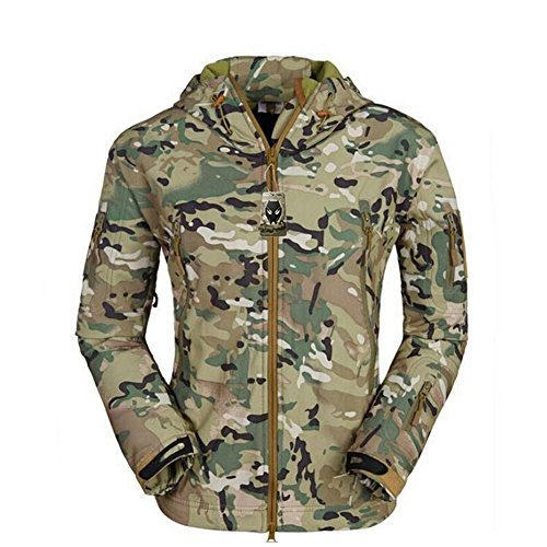 ATAIRSOFT Multi Colors Men's Outdoor Military Shark Skin Softshell Tactical Waterproof Jacket Camouflage (Multicam, M)