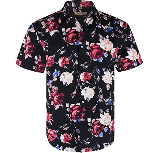 Wholesale Coevals Club Men's Casual Short Sleeve Flower Shirt for cheap