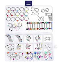 BodyJ4You 60-120PCS Body Jewelry Kit for Belly Ring Labret Tongue Eyebrow Tragus Barbells 14G, 16G Pack