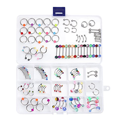 BodyJ4You 120PC Body Piercing Jewelry Set 14G 16G Belly Ring Tongue Nose Tragus Lip Eyebrow -