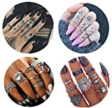 FIBO STEEL 42 Pcs Vintage Knuckle Rings for Women Girls Stackable Midi Finger Ring Set