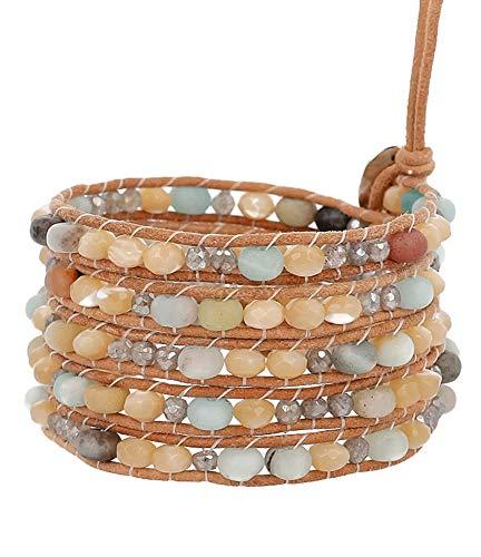 Chan Luu Matte Multi Color Mineral Stone Beaded Light Brown Leather Silvertone Wrap Bracelet