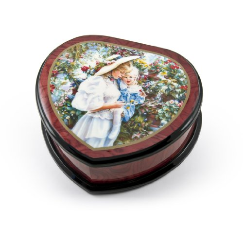 Adorable Heart Shape Painted Ercolano Music Jewelry Box Titled (18 Note) - Over 400 Song Choices Mary Had A Little Lamb