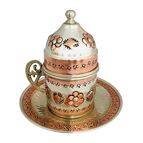 Copper Turkish Coffee Set, Six Greek Armenian Arabic Espresso Porcelain Cups Tray Sugar Bowl, with Silver-plate detail, Handcrafted by Mandalina Magic by Mandalina Magic (Image #2)