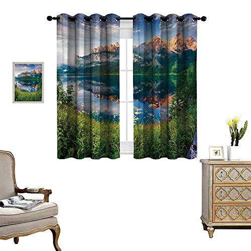 (Anyangeight Mountain Waterproof Window Curtain Sunny Summer Morning on Lake Austrian Alps Crystal Mirroring Water Fairy Season Blackout Draperies for Bedroom W63 x L63 Multicolor)
