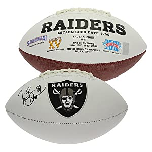 Tim Brown Autographed Oakland Raiders White Panel Football - Certified Authentic