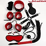 Leather Adult Games 10 PCS/Set Sex Products BDSM Slave Restraint Item Play Fun Games Restraints Kit Erotic Toys for Sex Couple PU Red and Black