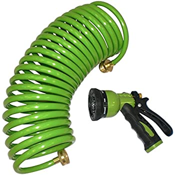 Amazon.com : CENTURION 25' Coil Hose With Nozzle : Patio, Lawn ...