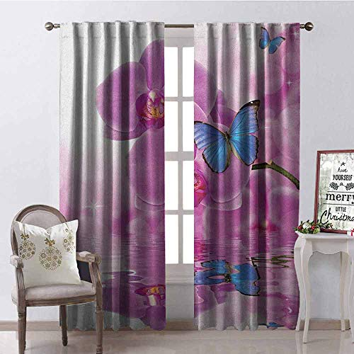 GloriaJohnson Butterflies Wear-Resistant Color Curtain Orchid with Butterflies Reflection on Water Bloom Botany Plant Branch Waterproof Fabric W52 x L72 Inch Pink Blue White