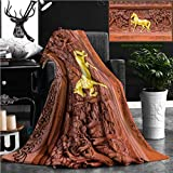 Nalagoo Unique Custom Flannel Blankets Horse Wood Carvings In Thai Land Super Soft Blanketry for Bed Couch, Twin Size 80'' x 60''