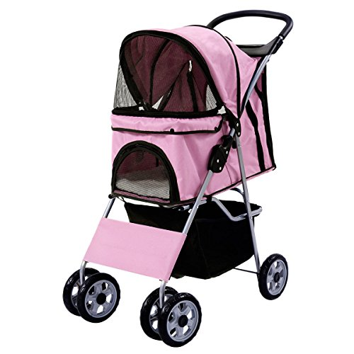 Pet Stroller Four Wheel Cat & Dog Folding Cart Carrier Steel +450D polyester cloth+ EVA Hold up 55 lbs, - Fit Edmonton International