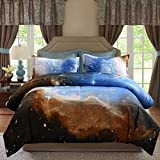 Juwenin bedding, Galaxy Down Alternative 3 Pieces Comforter set With 2 Matching Pillow Covers All Season, Fluffy, Warm, Soft & Hypoallergenic (Twin, xk17003)