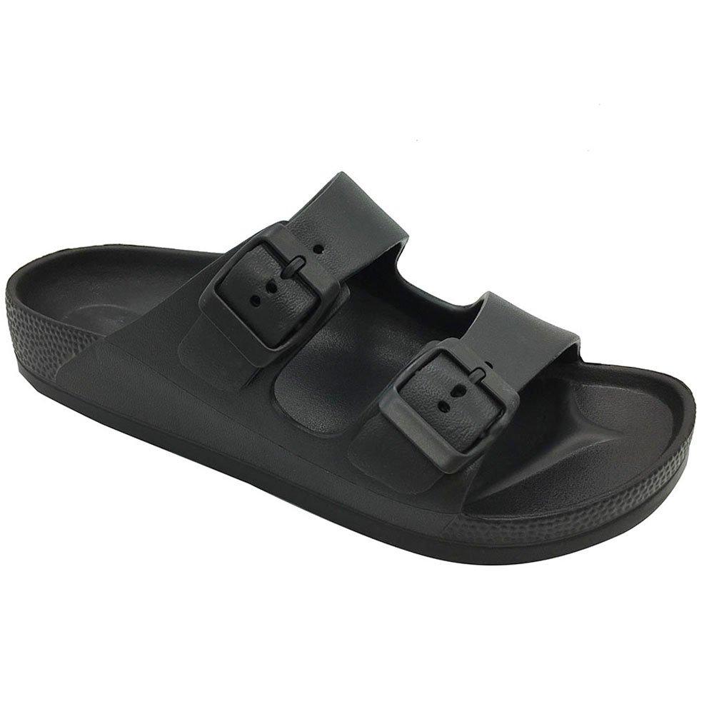 Funkymonkey Men's Comfort Slides Double Buckle Adjustable EVA Flat Sandals