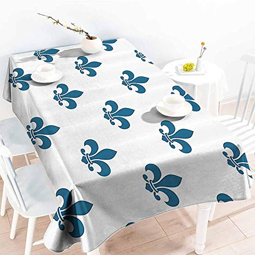 Homrkey Restaurant Tablecloth Fleur De Lis Decor Collection Illustration of Fleur De Lis Repeat Motif Lily Shades Ornament Design Navy Blue White Picnic W50 xL80 (Lily Shade Beige)