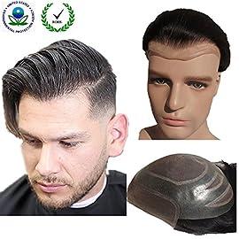 Toupee for men Hair pieces for men N.L.W. European virgin human hair replacement system for men, 10″ x 8″ human hair toupee men hair piece. #1 Jet Black