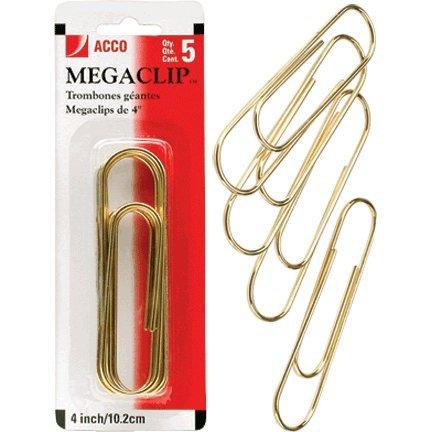 """Acco Brands A7072536 4"""" Gold Megaclip Paper Clip 5 Count"""