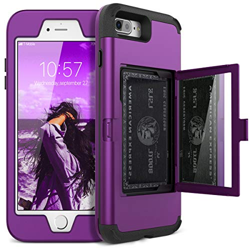 Purple Phone Case - iPhone 7 Plus Wallet Case - WeLoveCase Defender Wallet Design with Hidden Back Mirror and Card Holder Heavy Duty Protection Shockproof All-round Armor Protective Case for iPhone 7 Plus/8 Plus - Purple