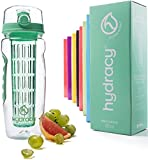Hydracy Infuser Water Bottle with Full Length Infusion Rod and Insulating Sleeve Combo Set + 25 Fruit Infused Water Recipes eBook Gift - Large 32 Oz Sport Bottle - Aqua Green