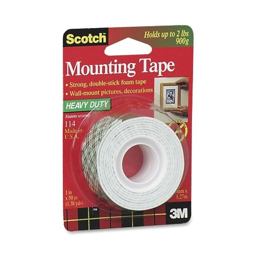 3M Scotch 114/DC Heavy Duty Mounting Tape, 1 x 50-Inch (Double Tape Sided Sticky)