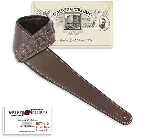 Walker & Williams BST-112 Dark Brown Extra Wide Tapered Acoustic/Elect Bass Guitar Strap