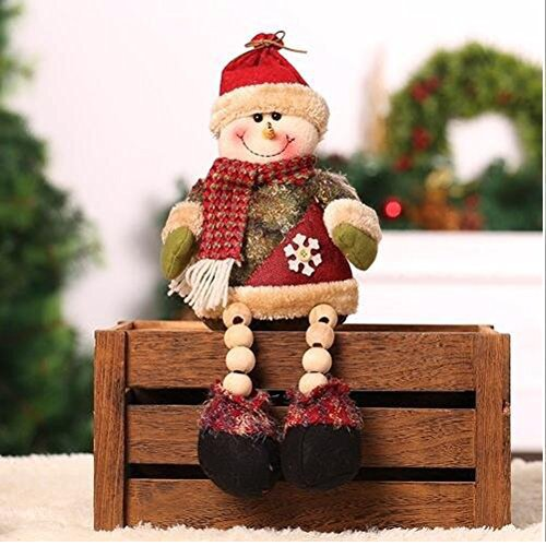 Christmas Sitting Father Christmas Santa Claus Snowman Figure Plush Toy Doll Christmas Party Tree Hanging Decor Home Indoor Table Fireplace Shelf Sitter Figurine Ornament Decoration Gifts (Doll-A) (Plush Figure Santa)