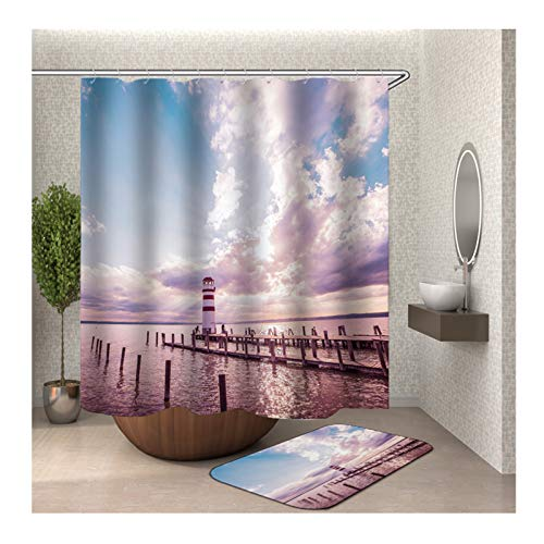 - Gnzoe Polyester Waterproof Shower Curtain and 16''x24'' Rug Set (Pack of 2) Light Purple Beach Trestle Lighthouse 60x72 in