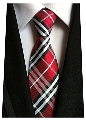 c2a5fcdb042d MENDENG New Classic Striped White Black Streak 100% Silk Men'S Tie Necktie  Ties