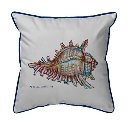 Betsy Drake Interiors Coastal Conch Shell Indoor/Outdoor Lumbar Pillow