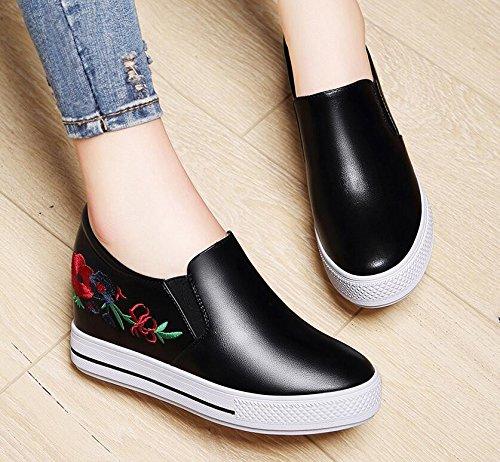 KHSKX-Po Zapatos Documental Modelos Femeninas Un Poco Suave Zapatos Casuales Zapatos De Suela Gruesa Otoño Coreano Le Fu black