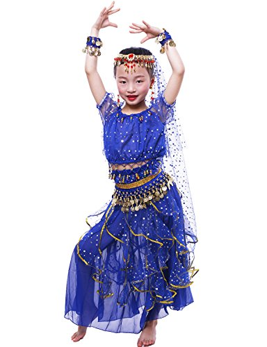 Astage Big Girls` Belly Dance Carnival Dancing Dress Royal Blue L - Child Belly Dance Costumes