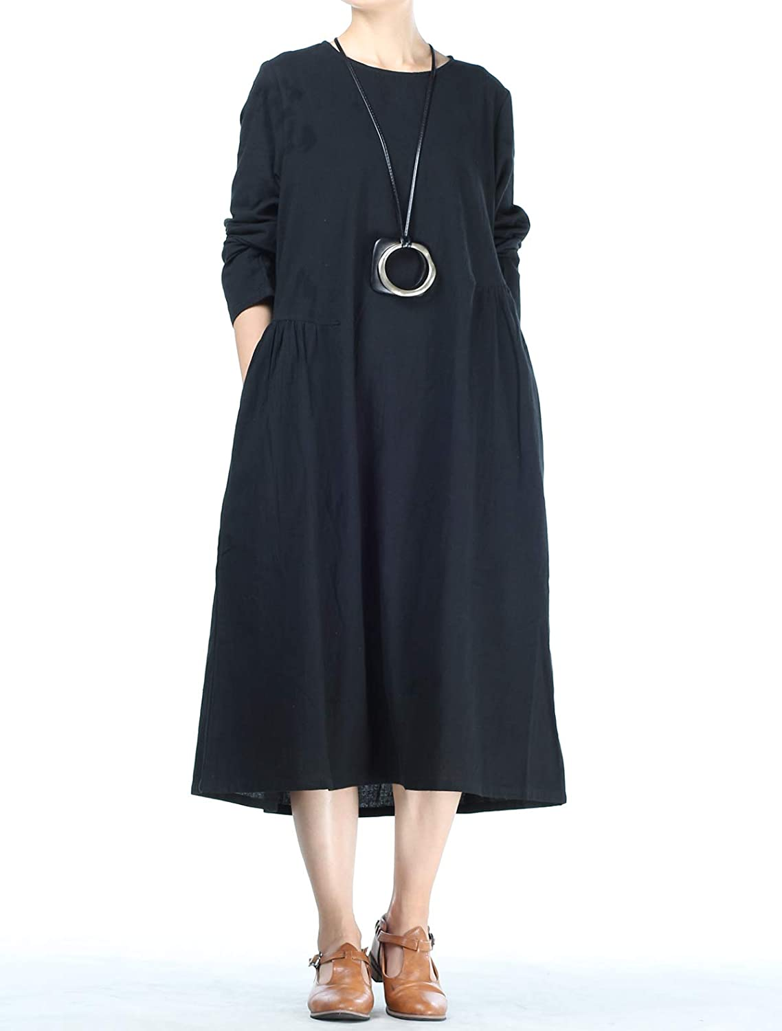 53b01db461e7 Mordenmiss Women's Cotton Linen Dresses Fall Loose Fit Basic Dress with  Pockets (XL Black) at Amazon Women's Clothing store: