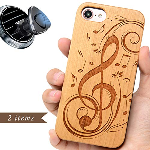 (iProductsUS Compatible with iPhone 8,7,6/6S (Regular Size) Case Wood and Magnetic Mount, Engraved Music Sign Phone Cover, Built-in Metal Plate Covered TPU Rubber Protective Shockproof Cases (4.7