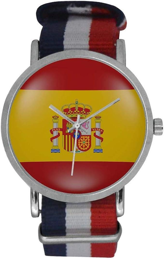 Reloj de Pulsera analógico de Cuarzo con Correa de Nailon a Rayas, diseño de Bandera Nacional de España: Amazon.es: Relojes