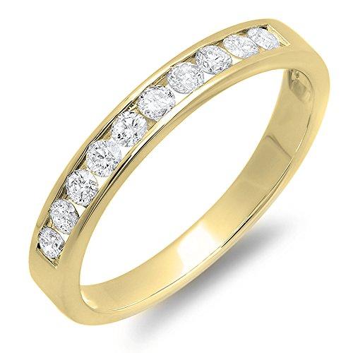 DazzlingRock Collection 0.40 Carat (ctw) 18K Yellow Gold Round Diamond Ladies Anniversary Wedding Band (Size (18k Gold Natural)