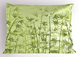 Ambesonne Forest Pillow Sham, Tropical Style Woodland Spiritual Nature Spa Chakra Zen Yoga Concept, Decorative Standard Size Printed Pillowcase, 26 X 20 inches, Pale Green Dark Green