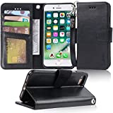 Arae iphone 7 case, iPhone 8 case, PU leather wallet Case with Kickstand and Flip Cover for iPhone 7 (2016)/iPhone 8 (2017) - Black