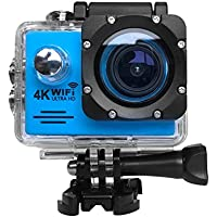 RICH Ultra HD SJ7000 Sports Action Camera 4K/2.7K 1080P 30M Waterproof Helmet Cam 2 LCD Screen WiFi Remote pro Anti-Shake CAMS with 19pcs Accessories for Water Sports and Extreme Sports