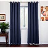 "NIM Textile Grommet Curtains Thermal Insulated Blackout Drapes, 110""W x 84""L, 2-Panels Set, Blue, Sofiter Collection"