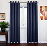 Cheap NIM Textile Grommet Curtains Thermal Insulated Blackout Drapes, 140″ W x 84″ L, 2-Panels Set, Blue, Sofiter Collection