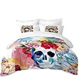 JessyHome Sugar Skull Duvet Cover King Size,Multicolor 3D Bedding Quilt Cover,Day of The Dead Decor