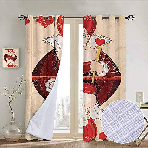 NUOMANAN Bedroom Curtains Alice in Wonderland,Queen Cards Playing