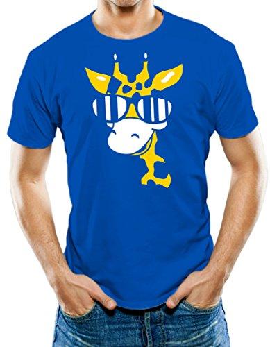 Universal Apparel Men's Sunglasses Cool Giraffe T-Shirt 3XL Royal - Sunglasses Deals And Steals