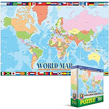 Amazon world map 100 piece jigsaw puzzle toys games world map 100 piece jigsaw puzzle gumiabroncs Images