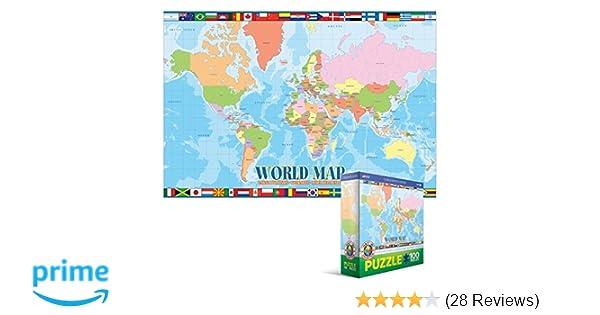 Amazon world map 100 piece jigsaw puzzle toys games gumiabroncs Choice Image
